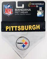 NEW NFL Pittsburgh Steelers Reversible Home Away Pet Wear Dog Bandana Size S/M