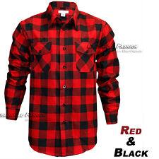 Mens Brawny Buffalo Plaid Flannel Shirt Long Sleeves Button-Front Check Shirts