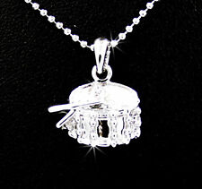 New Snare Drum & Sticks Silver Tone Austrian Crystal Pendant Chain Necklace Band