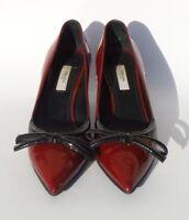 PRADA Burgundy Red Patent Leather Black Bow Pointed Toe Kitten Heel Pumps 36 GC