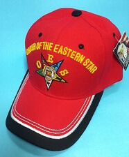 Oes, O.E.S , Order Of The Eastern Star Red Color One Size Cap