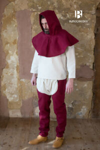 Medieval Padded Cotton - Wine Red Hood + Lagging medieval SCA LARP