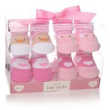 Set x 4 rose bébé fille Chaussettes boîte cadeau – nouveau-né 0-12 mois de Noël