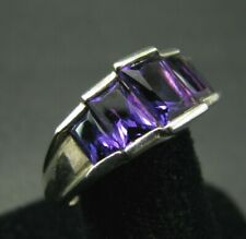 STERLING SILVER Stair-Step DEEP PURPLE/PINK Topaz 5-STONE RING Emerald Cut 7