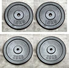 """2 x 20kg & 2 x 15kg Weight Discs (4), Cast Iron 1"""" hole Plates (70kg)"""