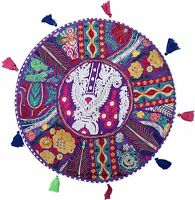 Bohemian 22'' Purple Round Cushion Cover Floor Pillow Seating Throw Indian Decor