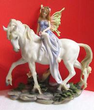 "Large Heavy Fairy and Unicorn Resin Summit Mystical Figurine 10"""