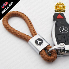For AMG Brown Calf Leather Alloy Keychain Ring Decoration Gift Accessories Sport