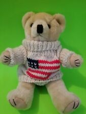 """Khyber Collection Stuffed Bear with Knit sweater, 10"""" tall."""