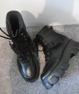 Truffle Black Clip Strap Lace Up Chunky Sole Boots Size UK 6 EU 39