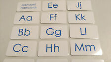 Blue text laminated Alphabet Flash Cards. Educational learning activity. 4.25x2