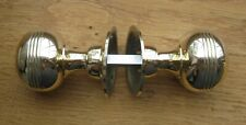 """PAIR SOLID """"POLISHED"""" BRASS REEDED DOOR KNOBS GEORGIAN STYLE (POLISHED VERSION)"""