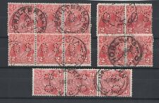 1930 Aust KGV 2d scarlet OS SG O104 sm. multi wmk 13x12 fu 13 stamps in pairs