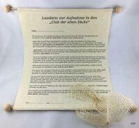 Urkunde Aufnahme in den Club der alten Säcke Laudatio Geburtstag