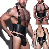 Mens PU Leather Strap Tops+Brief Thong Jock Strap G-String Bulge Pouch Underwear