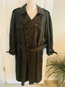 LONDON FOG Men's 38 Short Green Button Up Zip Out Wool Lining Trench Coat NEW