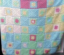 Handmade Crocheted Granny Squares Baby Blanket Afghan 37 x 36 Pink Blue