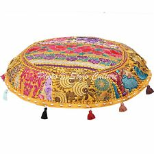 Indian Ethnic Round Embroidered Patchwork Cotton Yellow Floor Cushion Cover 22""