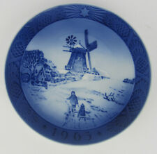 More details for 1963 royal copenhagen christmas plate, 'windmill', one of several listed