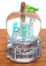 65 mm New York City Snow Globe, Big Apple Shaped Globe with Pewter Base
