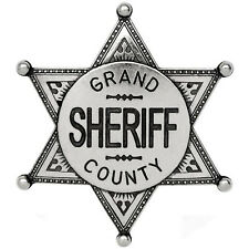 American Western Old West Lawman Grand County Sheriff Badge Metal Finish