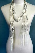 Beaded Knit Necklace Scarf  , summer Belt , bead scarf, White color