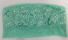 Victoria's Secret Green Sequinned Boned Cotton Blend Bandeau Bralette Medium