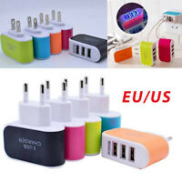 3 Ports Wall EU US Plug 5V 3A Luminous Fast USB Charger Hub Wall Charger Adapter