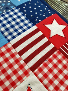 """Patriotic 4th of July Table Runner Centerpiece 36""""x 13"""" Patchwork Stars Stripes"""