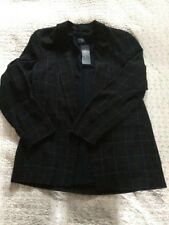 BNWT £45 M&S Collection Navy Check/ Tartan Open Blazer Jacket-size 12.