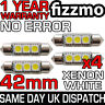 4x 42mm 264 C5W SV8.5 6000k BRIGHT WHITE 3 SMD LED FESTOON LIGHT BULB ERROR FREE
