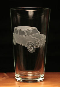 Mini Car Classic engraved pint glass gift present