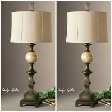 "PAIR 38"" HAND RUBBED BRONZE TABLE LAMPS CAPIZ SHELL ACCENT LINEN BELL SHADE"
