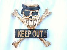 "SKULL & CROSS BONE ""KEEP OUT"" SIGN WALL/DOOR HANGING. Pirates."