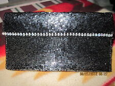 Hand Beaded Clutch Purse or Eyeglass Case..Black/Silvery..ORIGINAL DESIGN!
