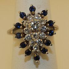 LADIES WOMEN  VINTAGE DIAMOND & SAPPHIRE COCTAIL RING 1.49 TCW 14K WHITE GOLD