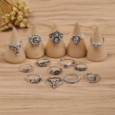 Set of 14 Rings Boho Knuckle Fashion Sun Flower Love Diamond Thumb Stack Jewelry