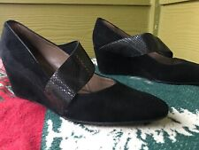 Anyi Lu 39 Black Mary Jane Suede Wedge Women's 9 M Heels Lizard Strap