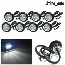 8 Pcs LED White Round Front Side Marker Lights Lamps 24V For Truck Trailer Lorry