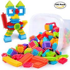 100pcs Bristle Shape 3D Building Blocks Tiles Construction Playboards Toys