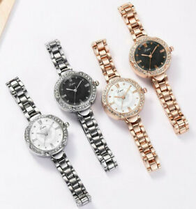 Silver Gold Chronograph Designer Style Ladies Women Crystals Bling Wristwatches