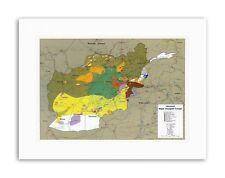 Mapa guerra Afganistán Unión Soviética insurgencia grupos militar de lienzo Arte 1985