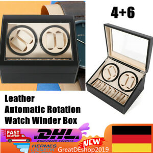 Automatic Watch Winder 4+6 Display Box Storage Wood box Container PU DHL Gift