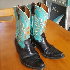 Amazing Turquoise And Black 1950s Vintage Acme Cowboy Western Boots With.