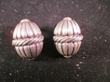 VERY OLD CLIPBACK EARRINGS GOURD / ACORN HEAVY 925 STERLING SILVER ESTATE C1