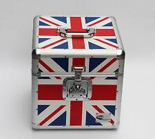 "12"" LP Vinyl Record Aluminium DJ Flight Carry Case Holds 100 Union Jack Flag UK"