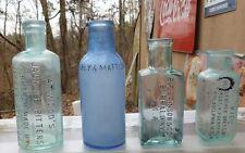 DECORATOR BOTTLES-4 Assorted Embossed Antique Bottles-Bitters-Medicine-Polish-18