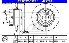 ATE Juego de 2 discos freno 320mm ventilado para BMW X3 24.0122-0224.1