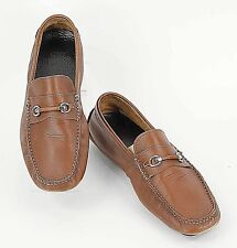 BRUNO MAGLI Sz 10 Brown Leather Silver Hardware Men's Moccasin Loafers D298