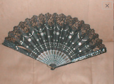 1920's Antique Black French Chantilly Lace Fan made in France
